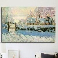 Reprodução da pintura a óleo pelo artista famoso Monet impressionista Abstrata Dia Nevado Decoração Arte Da Parede Da Lona Impressão Sem Moldura