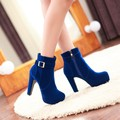 2017 Winter Boots Botas Mujer New Round Toe Buckle Boots For Women Sexy Ankle Heels Fashion Winter Shoes Casual Zip Snow Sx-13