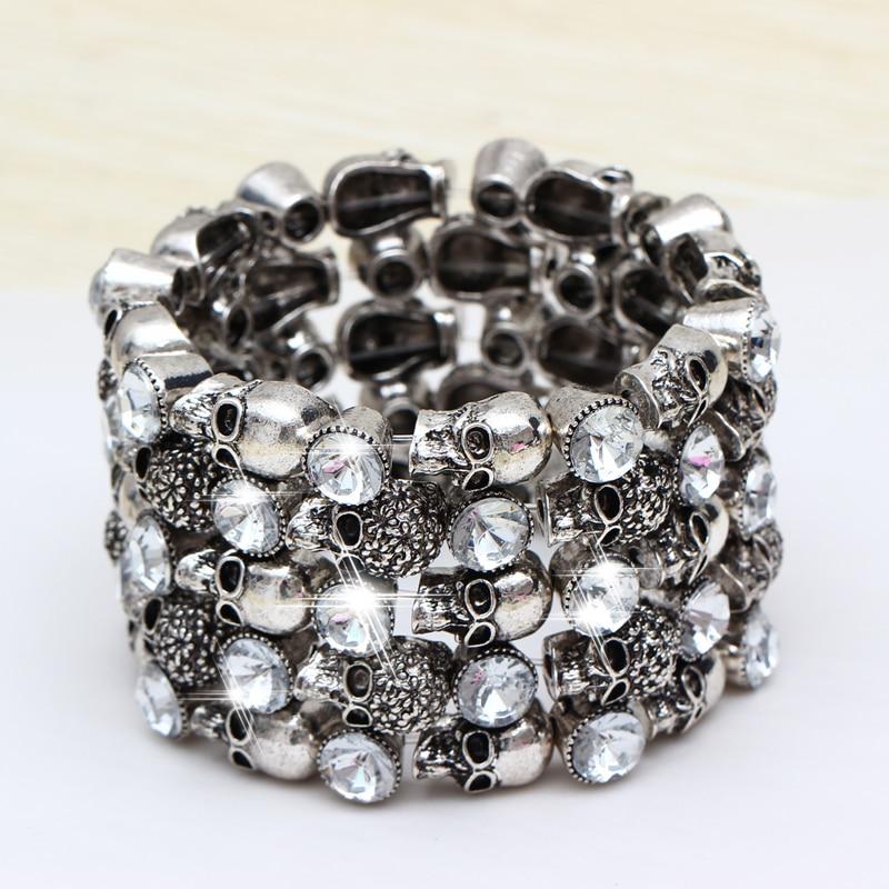 Hesiod vintage retro women statement bracelet bangles antique silver skull bracelets charms