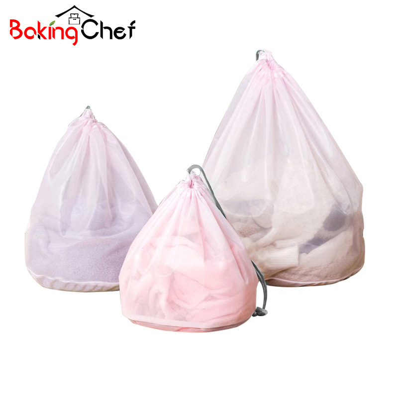 BAKINGCHEF 3pcs/set Mesh Laundry Bags Baskets For Bra underwear Clothes Lingerie House Cleaning Tool Washing Machine Accessories