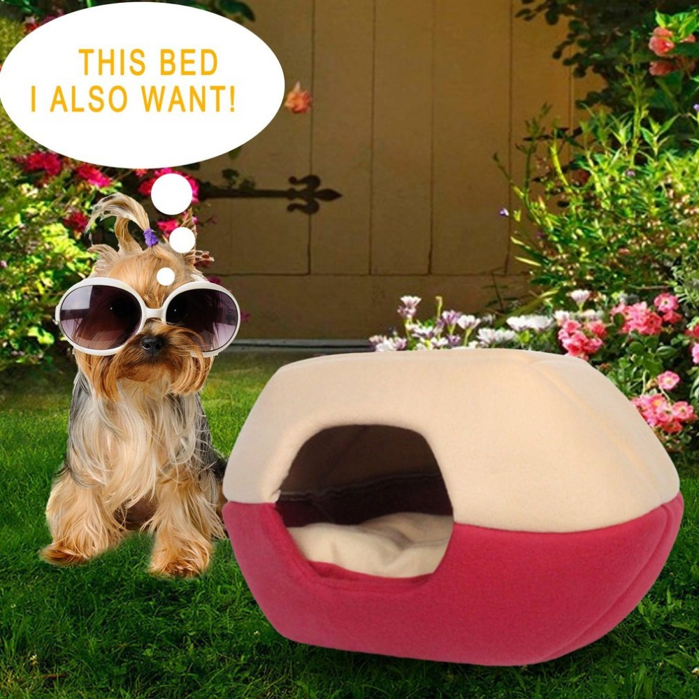 Foldable Soft Warm Cat Dog Bed House Pet Cave Puppy Sleeping Mat Pad Nest Winter Nest Kitty House Cats Bed M/L 2 Colors