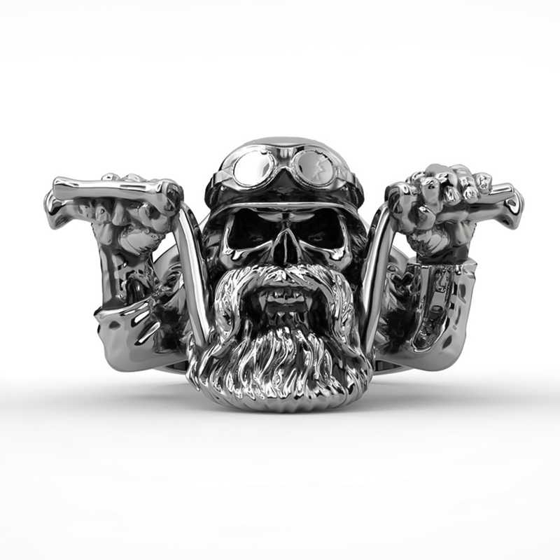 Men's Stainless Steel Punk Bearded Skull Ring Motorcycle Biker Ring