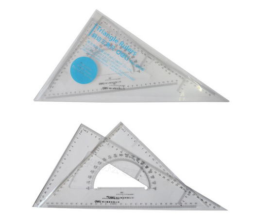 2pcs/set Plastic Triangular Scale Ruler 35cm Protractor  For Designers Office Achitects School Student Engineering Drawing DM001