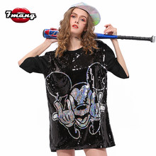 7Mang 2019 Hiphop Streetwear Cartoon Mickey Sequin T Shirt Women Short Sleeve Black Silver Party Oversized Long Tshirt 0116(China)