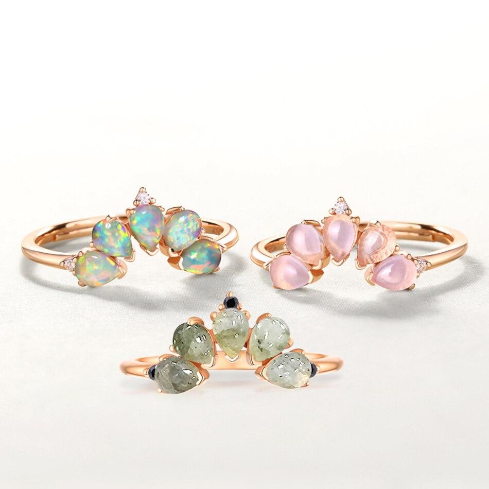 ALLNOEL 2019 Real 925 Sterling Silver Ring For Women 100% Natural Rose Quartz Blue Topaz Labradorite Gemstone Stack Fine Jewelry (7)