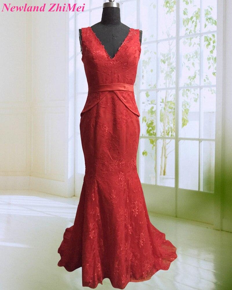 New Red Carpet Lace Celebrity Dress Vintage V Neck Floor Length Applique Woman Dance Dresses 2018