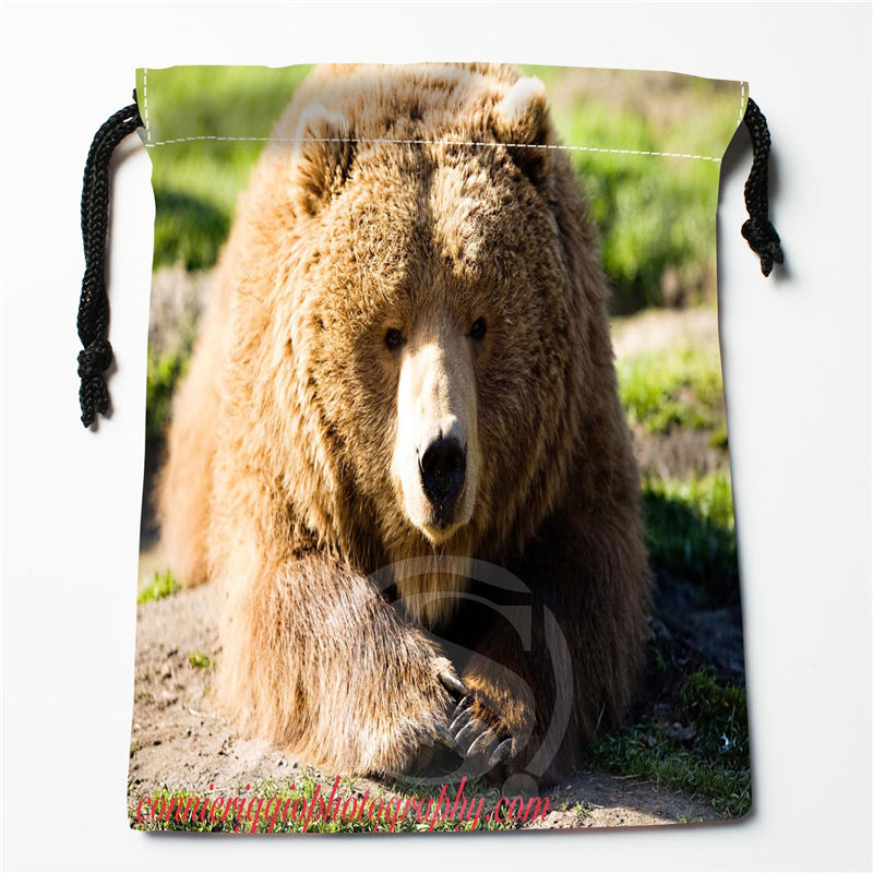 W-61 New Cute Brown Bear Custom Logo Printed  Receive Bag  Bag Compression Type Drawstring Bags Size 18X22cm W801!W61