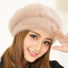 Fashion Winter Women beret hat Autumn New Rabbit Fur Hat Thicken Warmer berets for