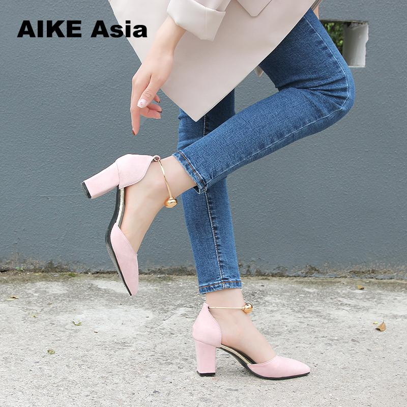 2018 High Heels Shoes Women Pumps Buckle Strap Sexy Thin High Heels Two Piece Heels Pointed Toe Fashion Ladies Shoes bead #8 sweet women s flat shoes with pointed toe and two piece design