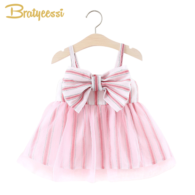Cute Voile Summer Baby Dress in Stripe with Big Bow Tutu Birthday Party Wedding Dress Infant Sleeveless A-Line Baby Girl Dress
