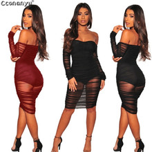 2019 Spring Mesh Perspective Off Shoulder Bodycon Dress Strapless Dress Women Fashion Night Club Sexy Party Dress