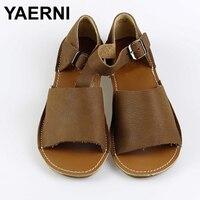 YAERNI kadın Sandalet Yaz Ayakkabı % 100% Otantik Deri Ayak Bileği Kayış Sandalet Bayanlar Düz Ayakkabı Kadın Ayakkabı