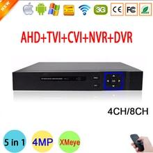 Blue Case XMeye Hi3521A Chip 4MP 4CH/8CH Surveillance Hybrid Coaxial 5 in 1 TVI CVI NVR AHD CCTV DVR Free Shipping