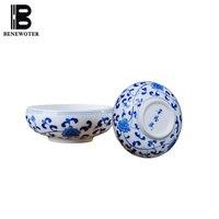 2 Teile/los Puer Tee Tasse Jingdezhen Keramik Master Tasse Hand Bemalte Blaue und Weiße Porzellan Teacup Kleine Tee Bowl Home teegeschirr