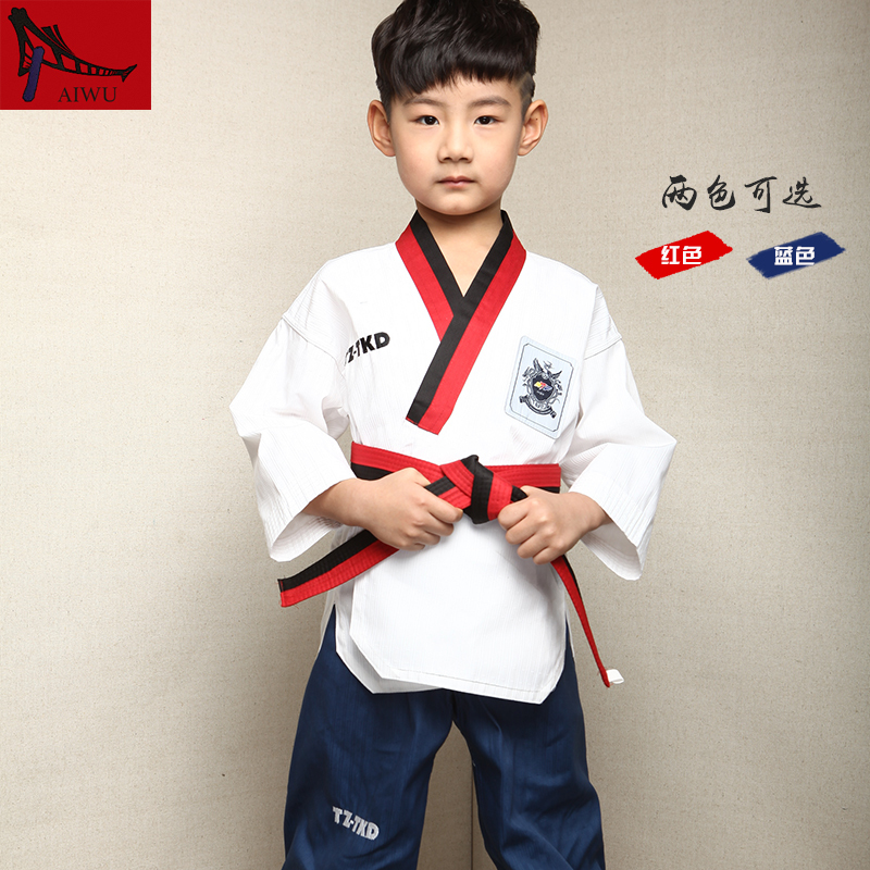 Hot Sale WTF Tae Kwon Do Dobok Clothes Child ITF Taekwondo Uniform  Size XXXS-M Blue Red