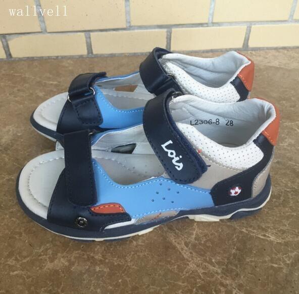 Wallvell Кожа плюс ПУ сандалии детей мальчиков летние сандалии Баотоу кожаные сандалии мягкой подошве студент обувь