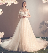 Champagne Wedding Dress 2019 Newest A-line Lace Appliques Bow Lace-up Back Short Sleeves O-neck Court Train Luxury Bridal Gown