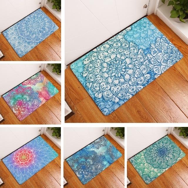 Bath Mat Mandala Carpet 50x80cm Flower Printed Floor Bathroom Toilet Kitchen Rugs Door