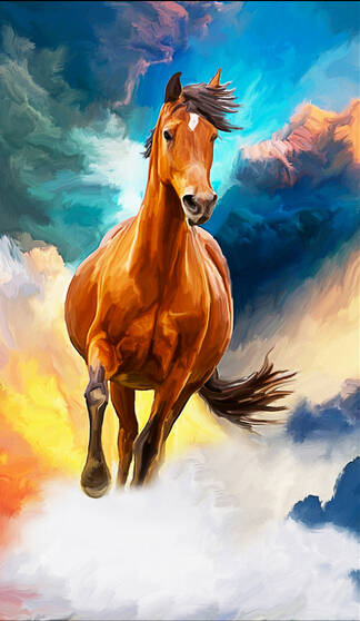 Custom Horse Wallpaper 3d Oil Painting Horse For The Living Room