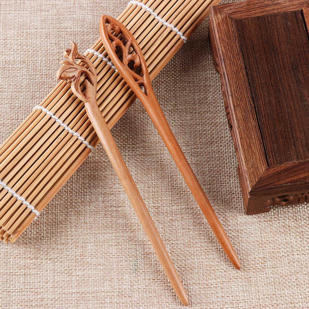 Ручная работа, деревянная резная палочка для волос, заколка для женщин, женская Ретро Этническая деревянная палочка для волос, модные аксессуары для волос, 4 стиля