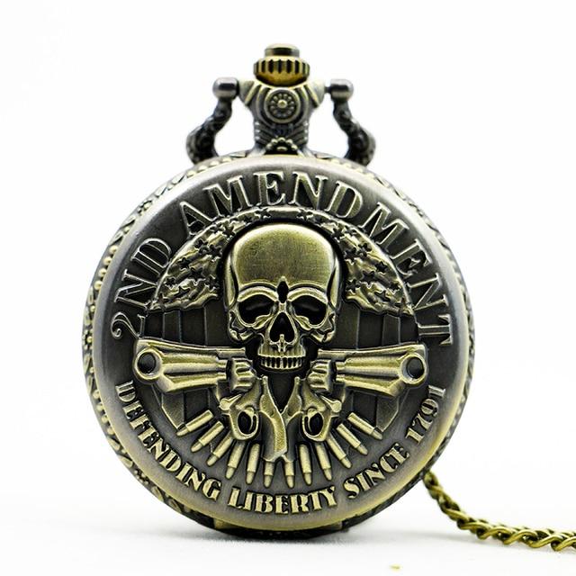 PB390 Bronze DEFENDING LIBERTY SINCE 1791 2nd AMENDMENT MILITARY Gun Skull Quart