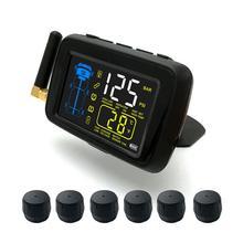 TPMS автомобиля Беспроводной шин Давление мониторинга Системы 6 колес внешний Сенсор Цвет ЖК-дисплей Батарея Сменные Enhanced сигнала