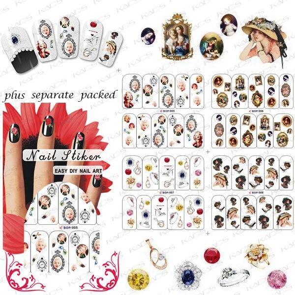2015 NUEVO 50 Unids/lote BOP Varios Transferencia de Agua Nueva Nail Art Stickers Decal Lindo Hermoso Diseño Decorativo Láminas de Estampación Herramientas