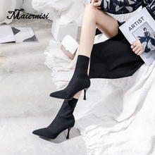 MAIERNISI New Mid-Calf boots for women short boots high heels pointed toe boots female shoes bottines brand ladies shoes winter universe 2017 new women winter boots fashion pointed toe high heel boots mid calf shoes for female g254