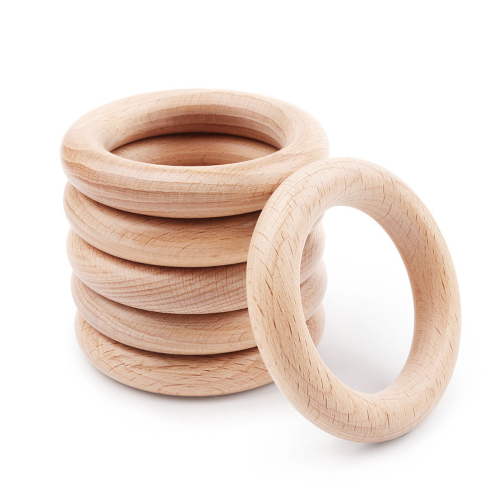 40mm-120mm Organic Beech Wood Teether Baby Teething Ring Smooth Round Wooden Teether Toy DIY Pacifier Chain Accessorie