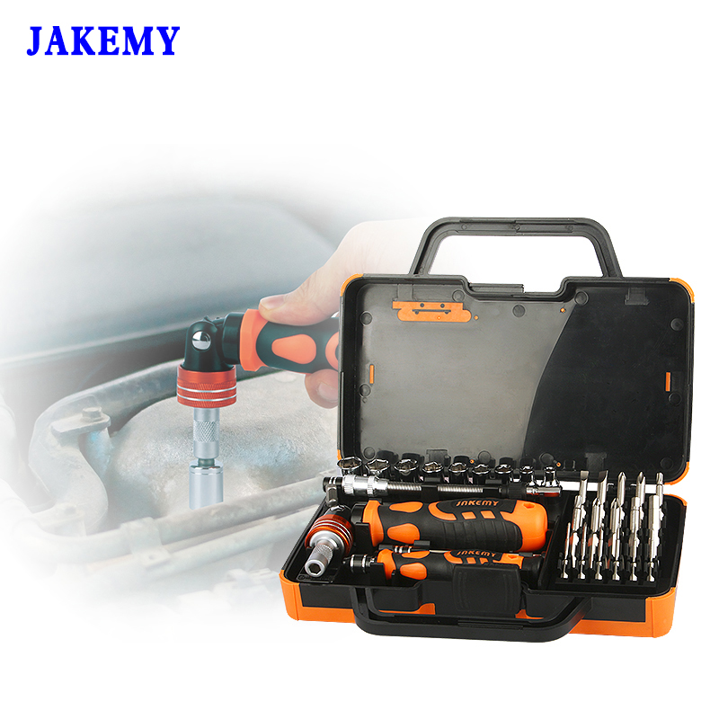 JAKEMY 31 in 1 Professional Screwdriver Set Socket Slotted Phillips Torx Bits Computer Repair Tools Kit