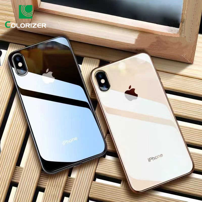 Luxe Glas Case Voor iPhone XS MAX XR X XS Case Ultra Dunne Transparante Back Glass Cover Voor iPhone 7 8 6 6S Plus Zachte Rand Slanke