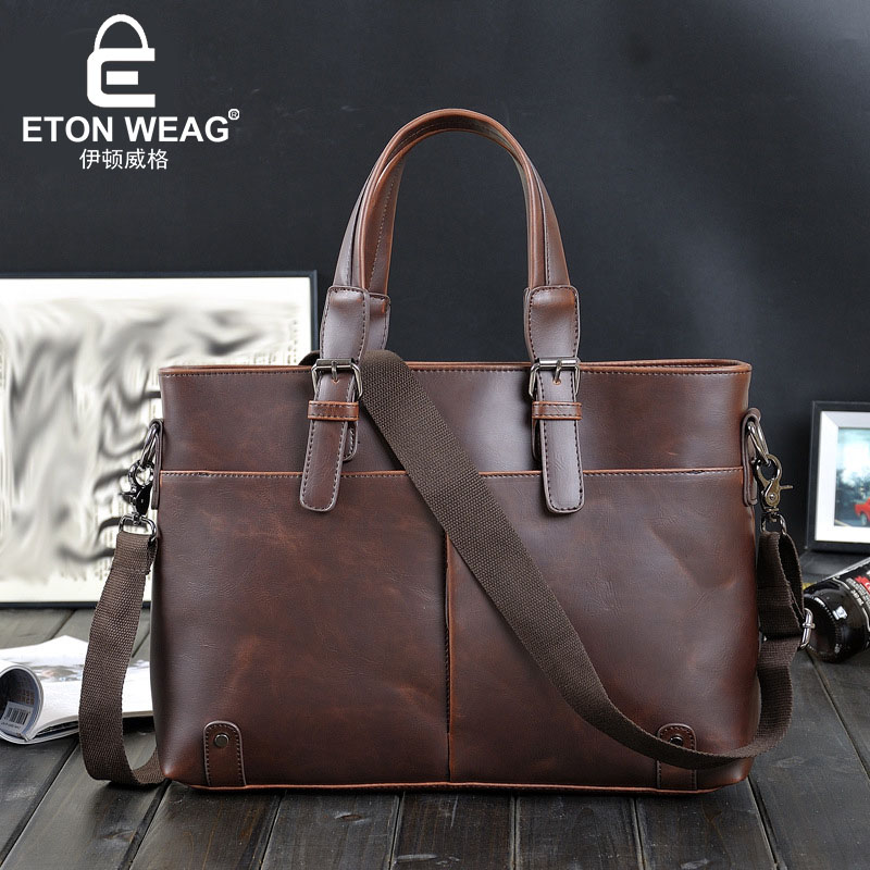 ETONWEAG Famous Brands Cow Leather Handbag Vintage Luxury Men Messenger Bags Business Laptop Bag Designer Handbags High Quality