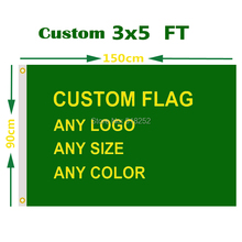 Custom Flag 3×5 FT Flying Banner Printing Any Size in 100D Polyester Fabric with Copper Grommets