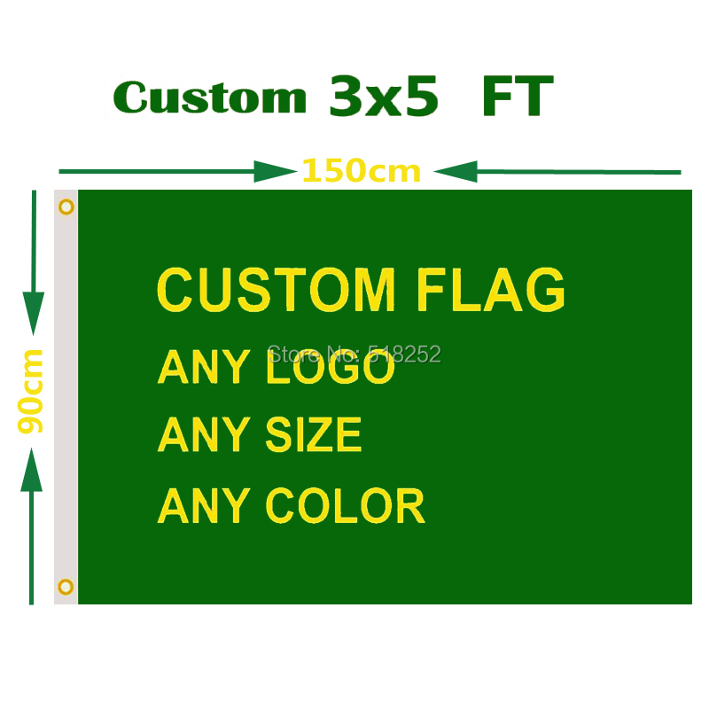 Custom Flag 3x5 FT Flying Banner Printing Any Size in 100D Polyester Fabric with Copper Grommets