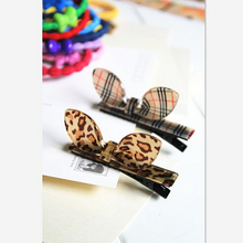 1Piece New Arrival styling tools Plaid Leopard rabbit ears hairpin headwear hair accessories for women girl make you fashion