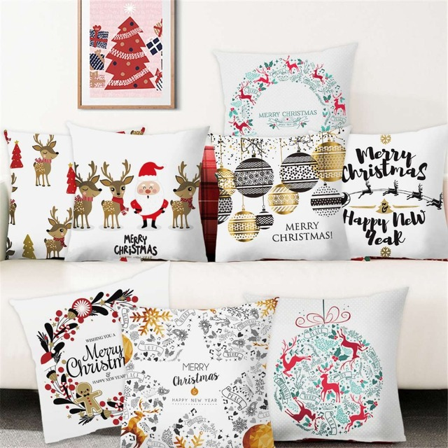 Us 1 74 26 Off Frigg Christmas Cushion Cover Cushions Home Decor Sofa Decorative Cushions Pillowcase Christmas Pillow Cover Throw Pillow Covers In