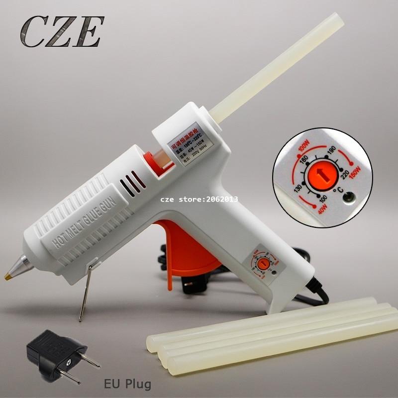 O Envio gratuito de 220 v 40-150 w Hot Melt Glue Gun Temperatura Ajustável Repair Kit Ferramentas com 5 Pcs Bastões de cola