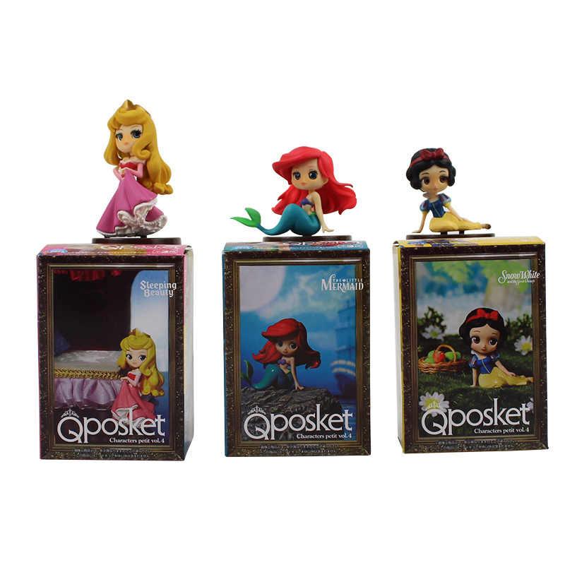 3 sztuk/zestaw Qposket księżniczka Ariel syrenka Belle roszpunka Mulan kopciuszek Snoe biały figurka zabawka pcv modelu lalki