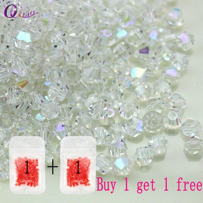 08233c539c11 Compre 1 y obtenga 1 gratis 100 unids Colorido 4mm Bicone Perlas de cristal  de Vidrio