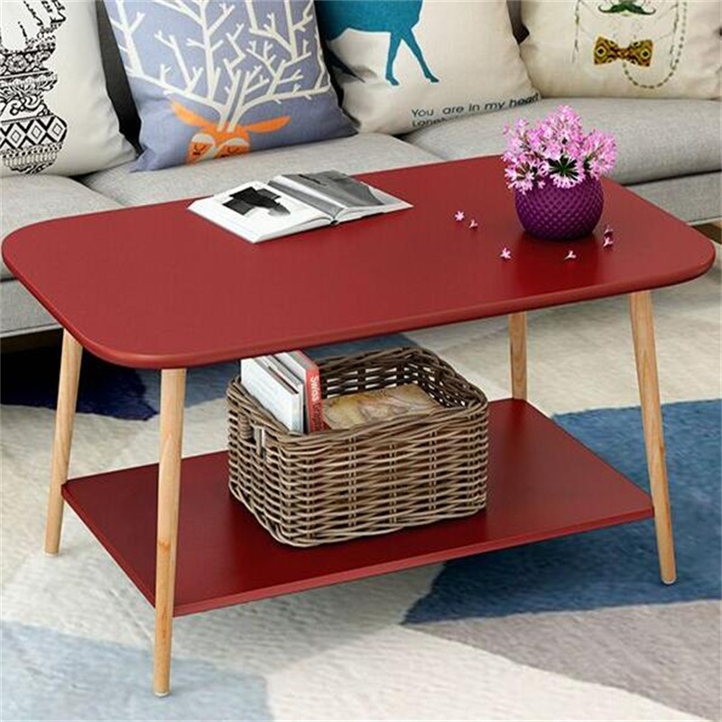 80*48*49CM Double-Layer Modern Wood Coffee Table Rectangle Sofa Side Table Living Room Corner Table 60 40 66cm modern wood bedside table sofa side coffee table rectangle mobile corner table removable tea cart with wheels