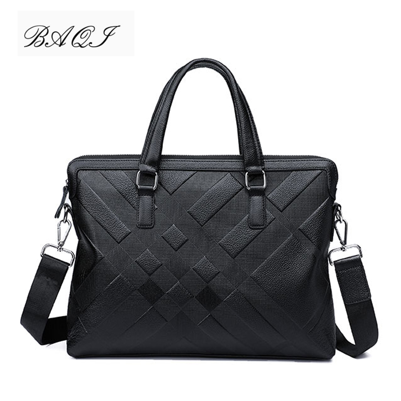 BAQI Brand Men Briefcase Bag Genuine Cow Leather Men HandBags Man Shoulder Bags Messenger Bag 2019 Fashion Computer Business Bag