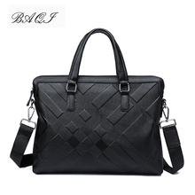 BAQI Brand Men Briefcase Bag Genuine Cow Leather Men HandBags Man Shoulder bags Messenger Bag 2019 Fashion Computer Business Bag soft genuine cow leather men bag ultra thin briefcase handbag brand designer men shoulder bag casual fashion business bag
