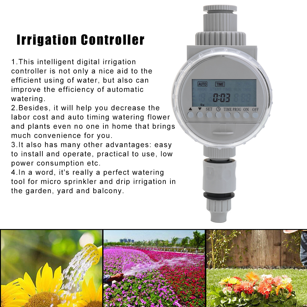 White Solar Power Digital Watering Timer LCD Screen Irrigation Control Auto Water Saving Garden Irrigation Controller System(China)