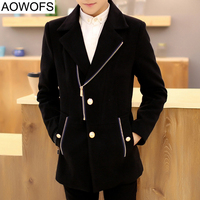 Slim Brand Jacket Mens Cashmere Coat Fashion 2015 New Korean Wool Coat Men Chaquetas Doble Hombre
