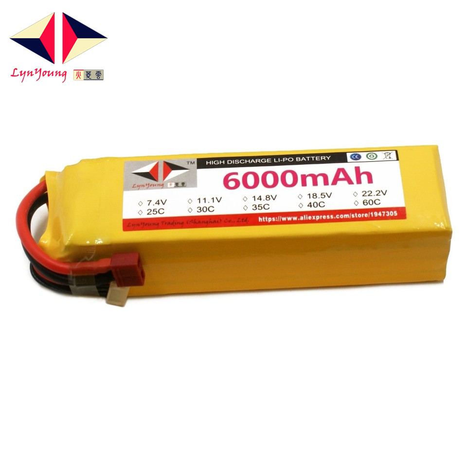 LYNYOUNG RC car battery LiPo 4S 14.8V 6000mAh 30C For Airplane Helicopter truck drone boat