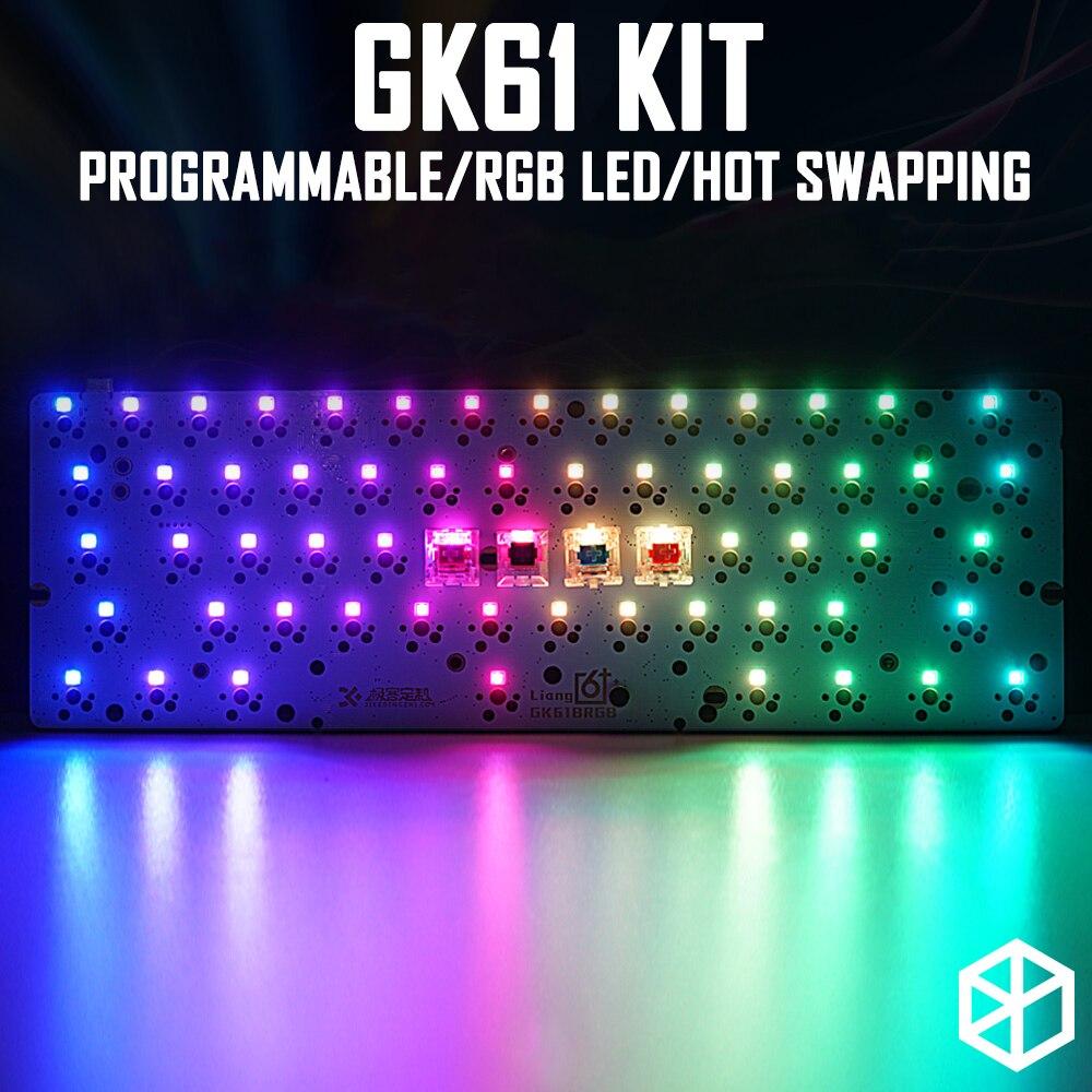 Gk61 60% personalizado teclado mecânico com interruptor rgb leds tomada de troca quente poderoso tipo software controle c pcb placa caso