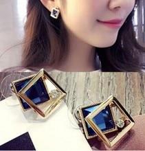Женские серьги-гвоздики в форме квадрата, золотистые серьги золотистого цвета с синим кристаллом, Подарочная бижутерия, 2021