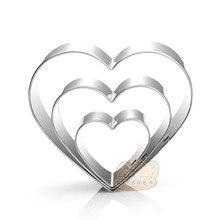 Moule à biscuits en forme de cœur, en acier inoxydable, 3 tailles, H916