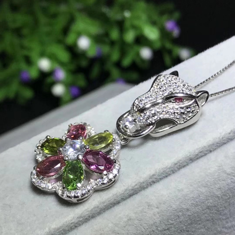 Natural Multicotourmaline pendant S925 silver Natural gemstone Pendant Necklace trendy Luxury Leopard flowers party jewelry цены онлайн