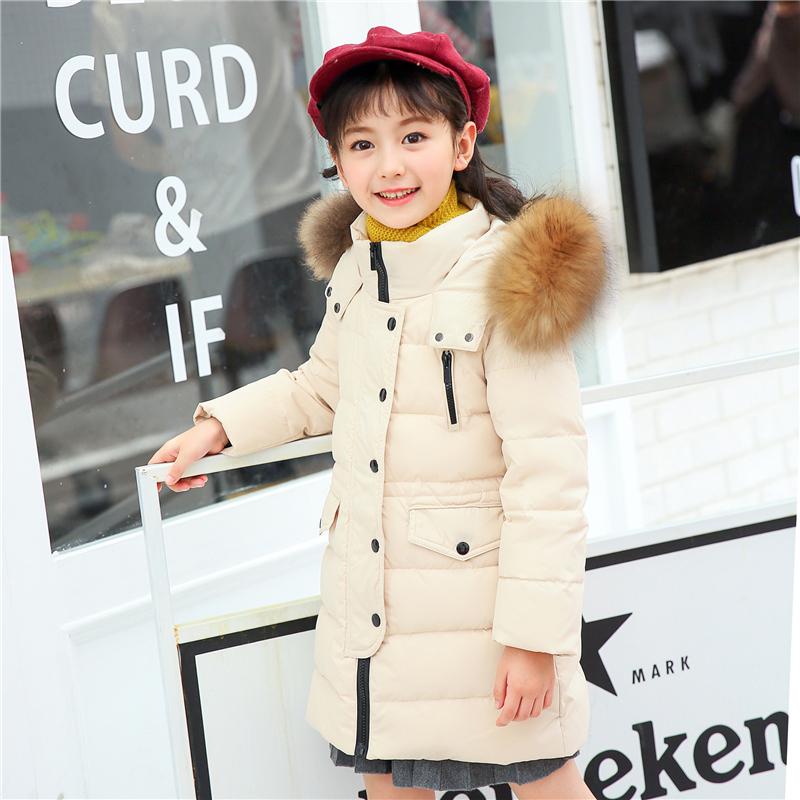 Winter Jacket For Girls 2018 Children Coat Kids Parka Warm Thick Fur Collar Hooded Long Down Coats Teen 2 4 6 8 10 12 14 Years teen girl winter coat parka long down puffer hooded fur collar children winter jacket kids thick clothes for 6 8 10 12 14 years